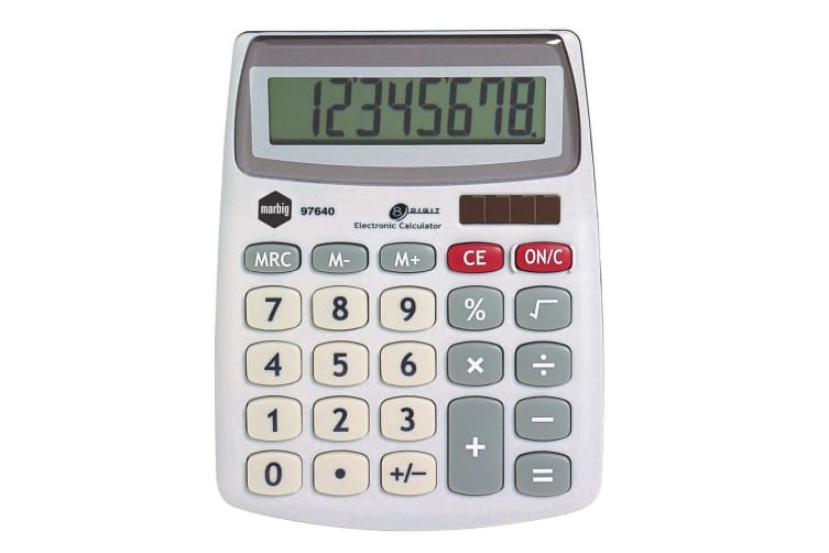 Marbig 8 Digit Compact Desktop Calculator Office/Home/School Solar Large Display