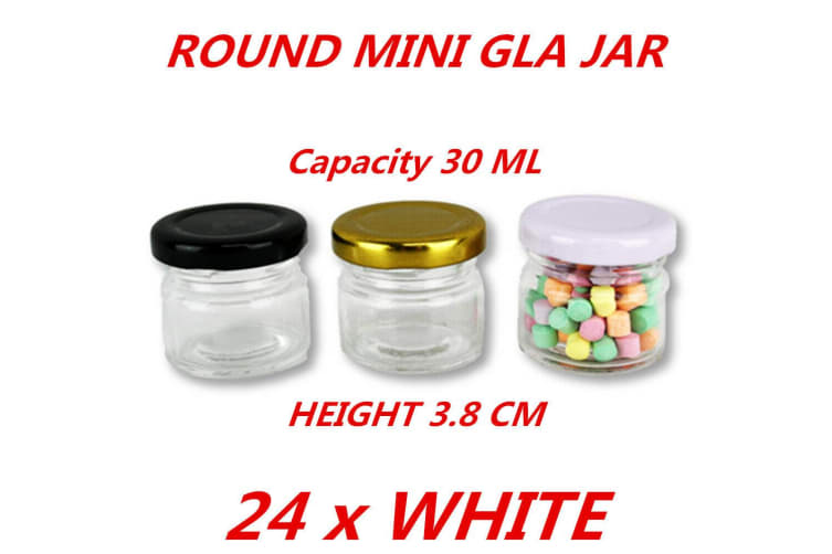 24 x White Lid 30ml Mini Round Honey Pot Glass Jar With Color Lid Spice Lolly Jam Conserve