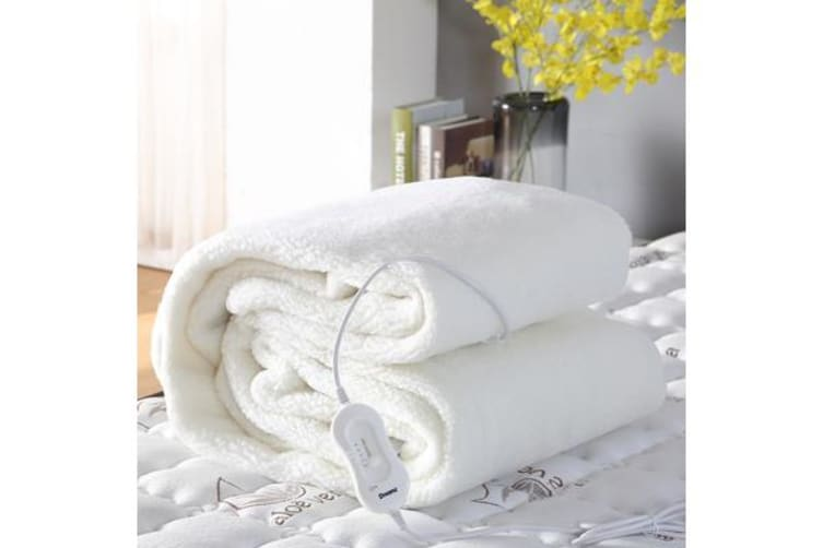 Fleecy Fully Fitted Heated Electric Blanket with Timer Double