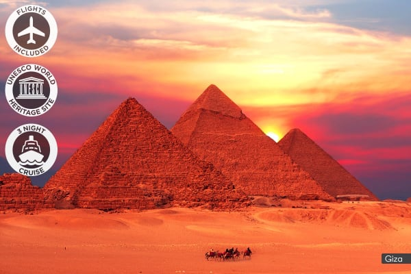 EGYPT: 10 Day Ancient Egypt Tour with Nile River Cruise Including Flights (For Two)