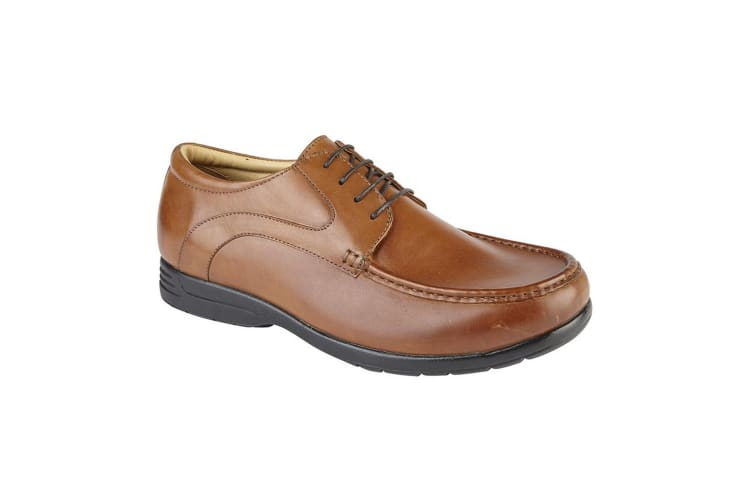 Roamers Mens Leather XXX Extra Wide 4 Eyelet Casual shoe (Tan) (9 UK)