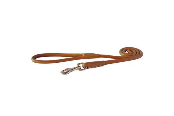 Rogz Leather Round Fixed Lead Brown - Large