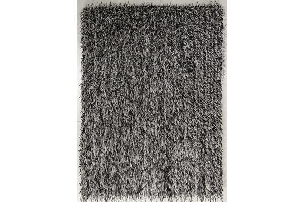 Metallic Noodle Shag Rug Black Off White 280x190cm