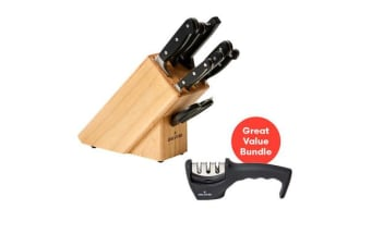 Wolstead Starkt 9pc Knife Block Set and 3 Stage Sharpener Pack