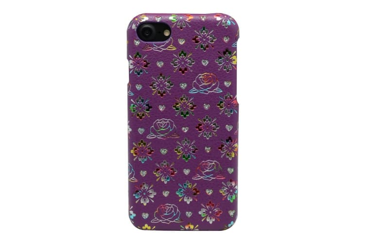 For iPhone 8 7 Case Colourful Flowers Leather Back Shell Shielding Cover Pink