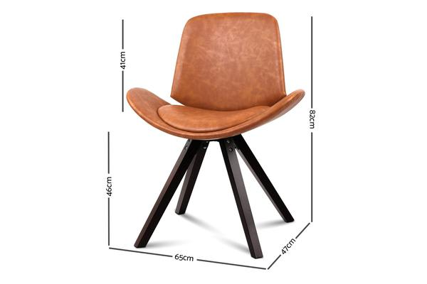 Artiss Set of 2 PU Leather Alexes Dining Chairs (Brown)