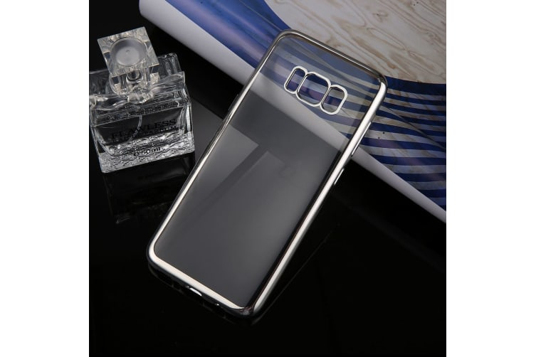 For Samsung Galaxy S8 Case Transparent Electroplating Protective Cover Silver