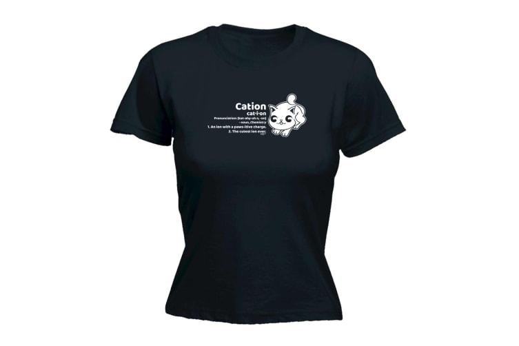 123T Funny Tee - Cation Cat - (Small Black Womens T Shirt)