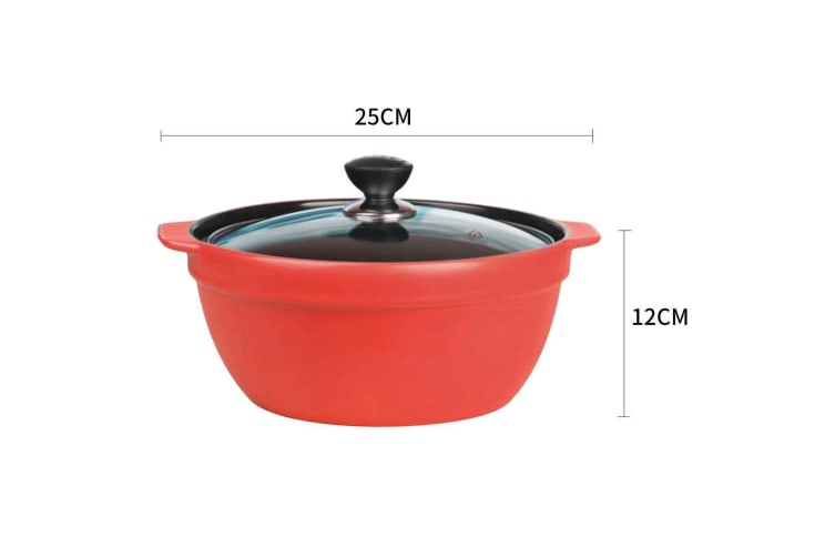 SOGA 3.5L Ceramic Casserole Stew Cooking Pot with Glass Lid Red