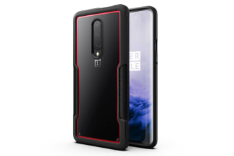 MAXSHIELD Slim Clear Heavy Duty ShockProof Case for OnePlus 7 Pro-Red