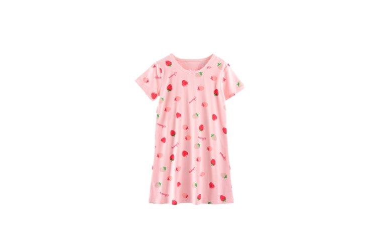 Girls Kid Nightgown Cute Cotton Princess Short Sleeve Nightie For Toddler - Pink Strawberry Pink 100Cm