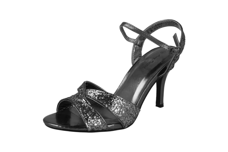 Anne Michelle Womens/Ladies Twisted Glitter Heeled Sandals (Pewter) (5 UK)