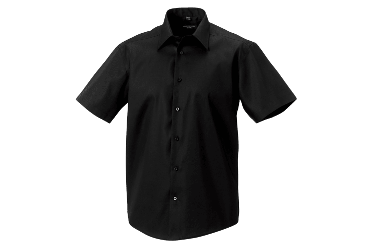 Russell Collection Mens Short Sleeve Tailored Ultimate Non-Iron Shirt (Black) (16inch)