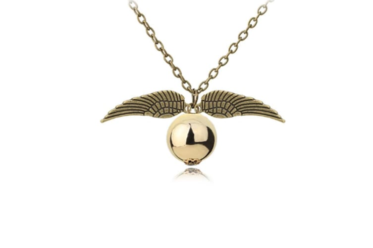 Harry Potter Golden Snitch Necklace with Flying Quidditch Angel Wings Bronze