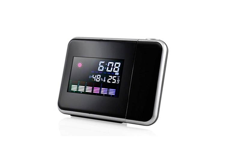 Select Mall Digital LCD Time Projector Snooze Alarm Clock Temperature Weather Humidity LED-Black