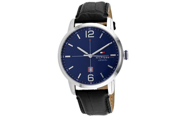 Tommy Hilfiger Men's George Watch (Blue Dial, Leather Strap)