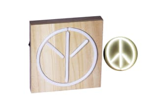Peace 21cm White Neon Light Lamp Sign w/Wooden/Retro Lighting/Home Light Decor
