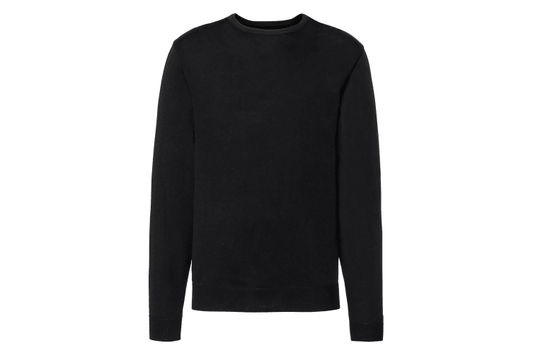Russell Collection Mens Crew Neck Knitted Pullover Sweatshirt (Black) (L)
