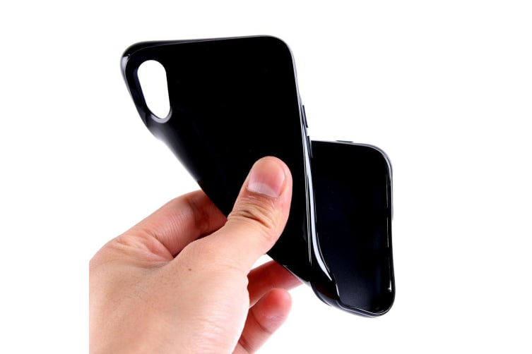 For iPhone XS X Case Elegant Solid Durable Grippy Protective Cover Black
