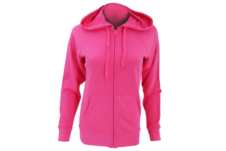 Fruit Of The Loom Ladies Fitted Lightweight Hooded Sweatshirts Jacket / Zoodie (240 GSM) (Fuchsia) (XL)