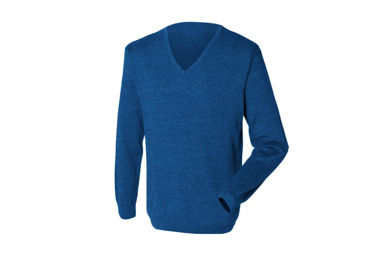 Henbury Mens 12 Gauge Fine Knit V-Neck Jumper / Sweatshirt (Royal) (L)