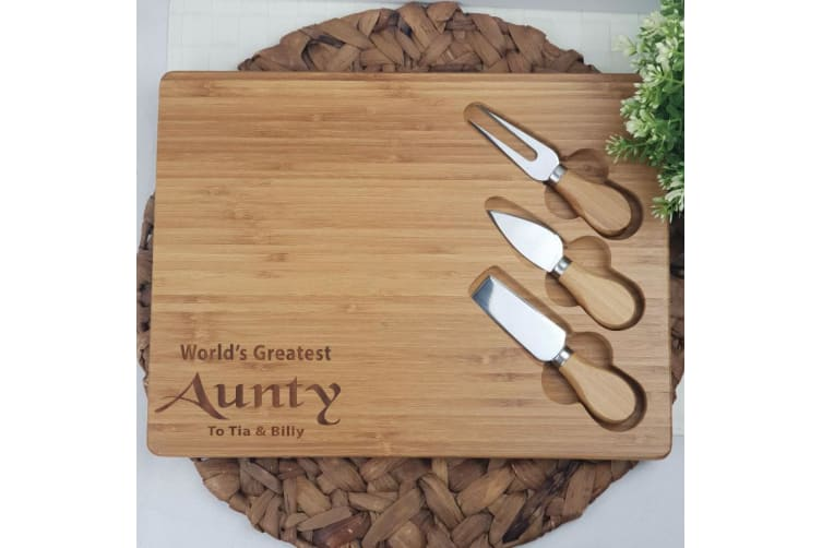 Personalised Bamboo Cheese Board - Aunt