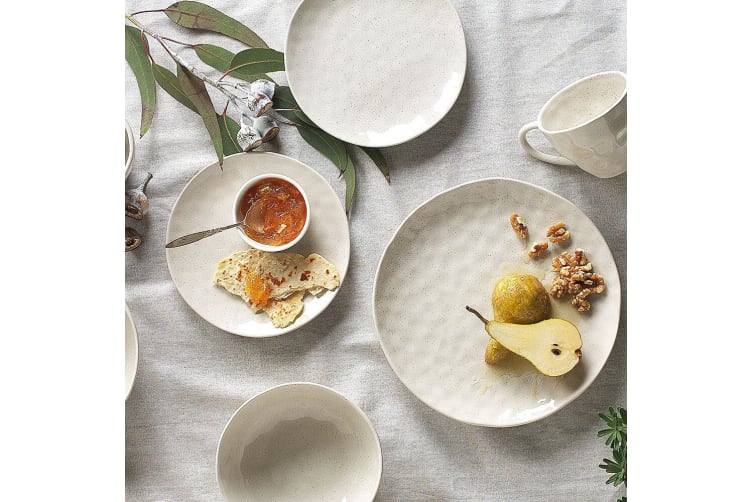 12pc Ecology Speckle Dinner Side Plate Noodle Bowl Gloss Tableware Set Oatmeal
