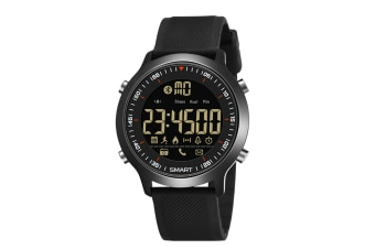 Men'S Sports Smart Watch Bluetooth Stepping Electronic Watch Black