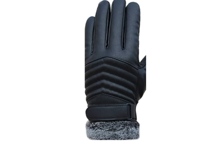 Pu Leather Winter Warm Gloves Windproof For Skiing Bicycling Hiking