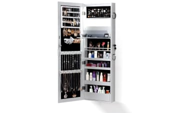 Mirror Jewellery Cabinet Storage Organiser Box Makeup Full Length DoorWall Stand  -  without LED Light