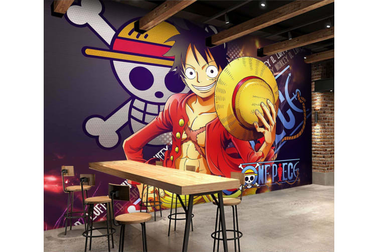 3D Luffy Background Skull 29 Anime Wall Murals Woven paper (need glue), XL 208cm x 146cm (WxH)(82''x58'')