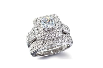 Women Wedding Engagement Bridal Set Rings Princess Cut Cubic Zirconia 8