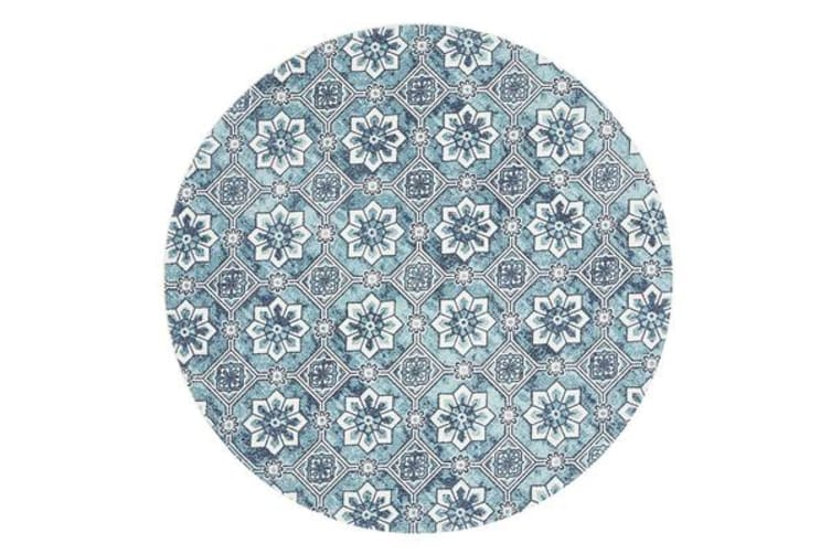 Sky Blue Hand Braided Cotton Blooming Flat Woven Rug - 200X200CM