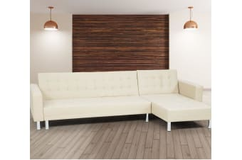Corner Sofa Bed Couch Lounge Futon with Chaise - Beige