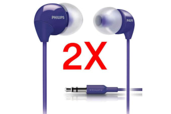 2x Philips SHE3590PP Earphones Headphones Earbuds for MP3 Audio Player Purple