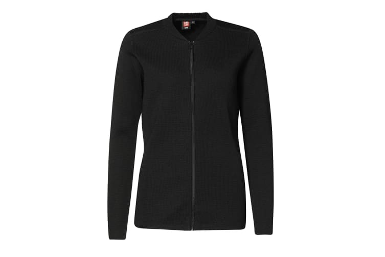 ID Womens/Ladies Fitted Full Zip Knitted Cardigan (Black) (3XL)
