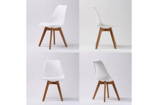 Replica Eames PU Padded Dining Chair - WHITE X2