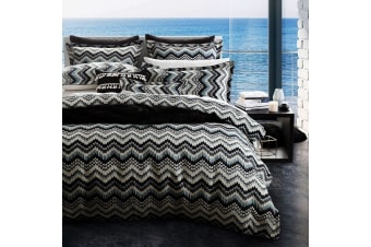 Jinko Navy Quilt Cover Set Super King by Platinum Collection