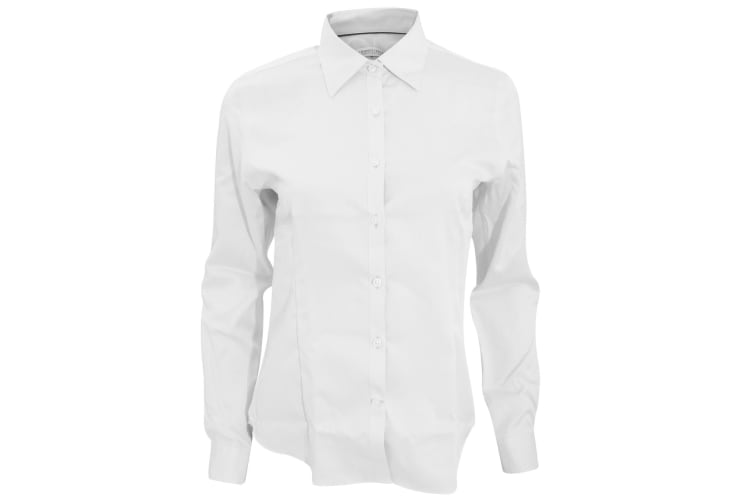 J Harvest & Frost Womens/Ladies Green Bow Collection Formal Long Sleeve Shirt (White) (M)