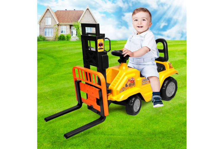 Kids Forklift Ride On Car Toy Toddler Children Engineer Vehicle - Yellow