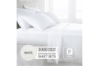 Queen Size White 1000TC Egyptian Cotton Sheet Set