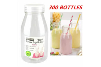 300 x 300ML PLASTIC MILK BOTTLE CANDY JAR CONTAINER WHITE LID PARTY LOLLY BUFFET