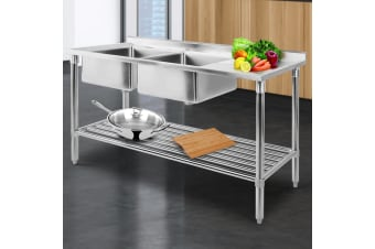 Stainless Steel Sink Bench Kitchen Work Benches Double Bowl 150x60
