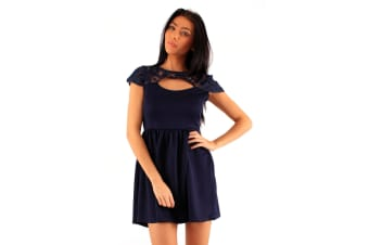 Lili London Womens/Ladies Alissa Peekaboo Lace Front Dress (Navy)
