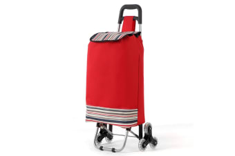 Portable Shopping Utility Cart Trolley w/ Wheels and Bag - Red