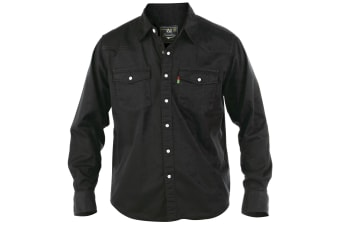 Duke Mens Western Denim Button Down Shirt (Black)