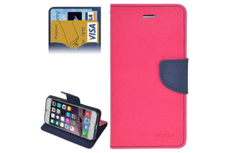 For iPhone 6S PLUS 6 PLUS Wallet Case Cross Texture Leather Cover Magenta