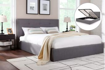 Ovela Bed Frame - Calabria Gas Lift Collection (Grey)