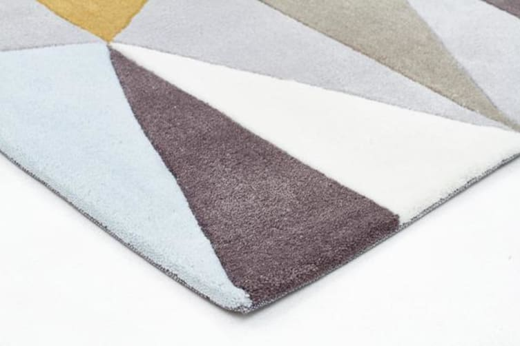 Yellow and Sky Blue Crystal Design Rug 225x155cm