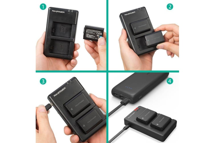 RAVPower NP-FW50 Camera Batteries Charger Set for Sony 1100mAh 2-Pack Battery
